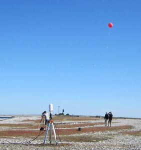 A field with two people and meteorological equipment. Photo.