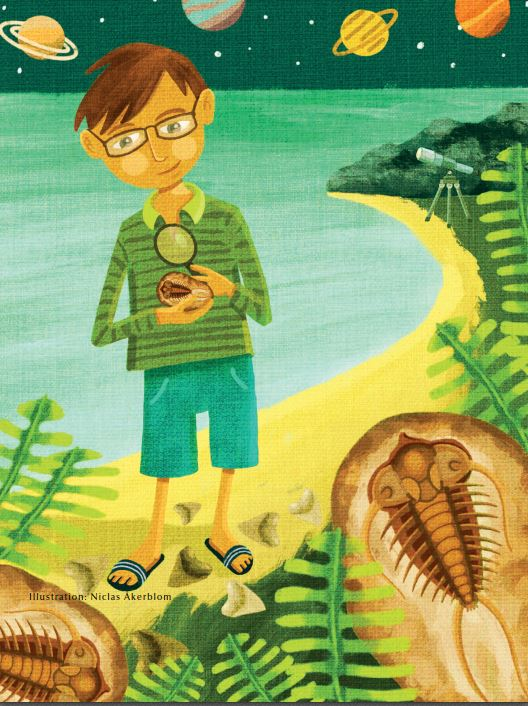 Graham Budd, as a child, collecting sea shells and fossils at the beach in England